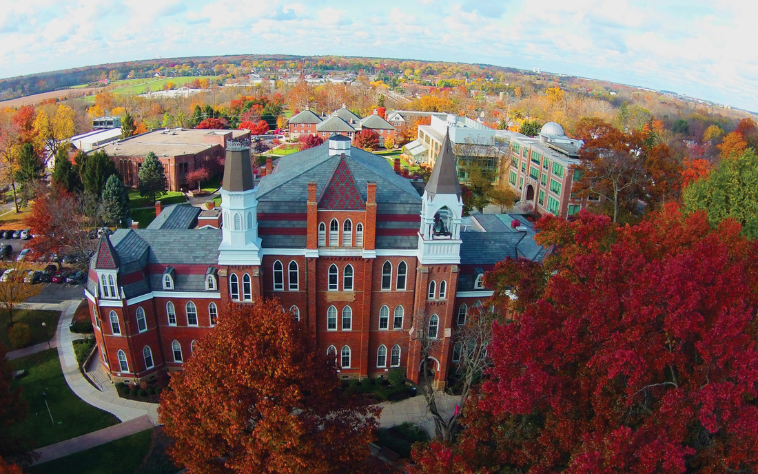 Aerial photo of Towers Hall on the Otterbein University campus